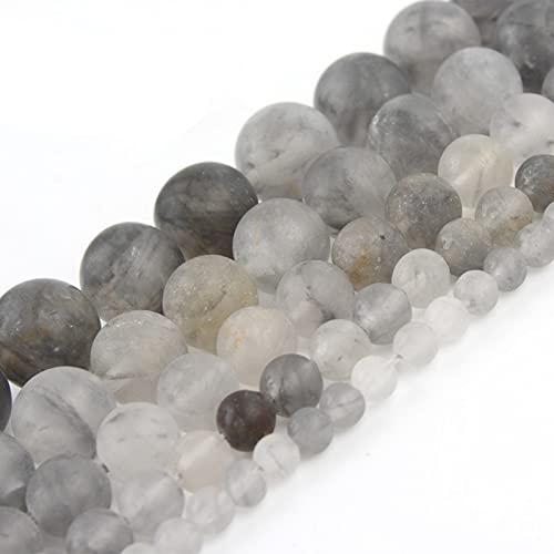 NHFVIRE Granos de Cuarzo de Cristal Gris Natural Natural 4/6 / 8/10 / 12 mm Redondos Perlas Sueltas para la fabricación de Joyas de Bricolaje Pulsera Pérles 10mm 36pcs Beads
