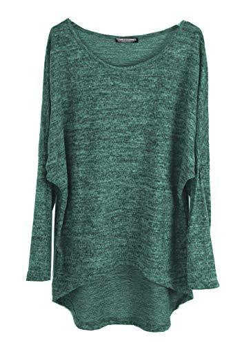 Emma & Giovanni - Pullover/T-Shirt Oversize - Damen (38/40 (Etikett M), Grün)