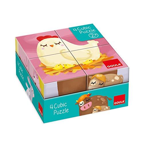 Goula - 4 Cubic Puzzle - Encajable para niños a partir de 2 años