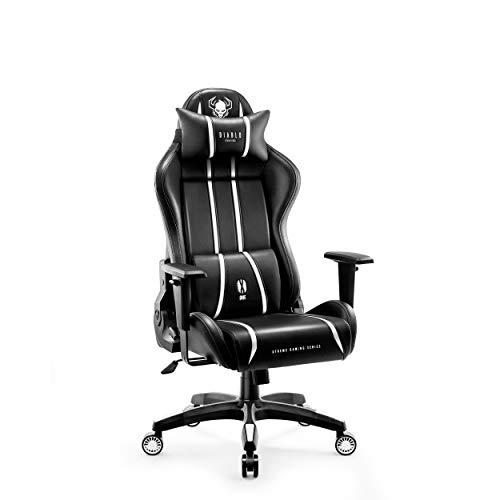 Diablo X-ONE Pro Gaming Stoel Gamestoel Bureaustoel Verstelbare Armleuningen Ergonomisch Ontwerp Nek- / Lendenkussen (S, Wit)