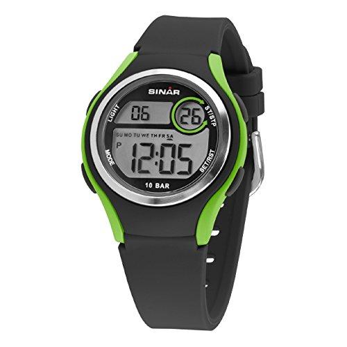 SINAR Jungen-Armbanduhr Jugenduhr Sport Outdoor Digital LCD Quarz 10 bar Licht Silikonband XE-64-3