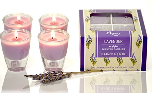 Manu Home~ Lavender Aromatherapy Candles in 4 pack Gift Box~ Natural Wax blend ~ Each candle is 2 inches high~