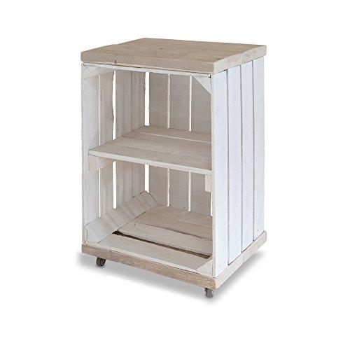 Stylingathome.de Obstkisten Nachttisch weiß/Holz mit Rollen | 40 x 30 x 60 cm (LxBxH) | Montiert geliefert | Vintage Weinkiste/Apfelkiste Beistelltisch aus massivem Holz