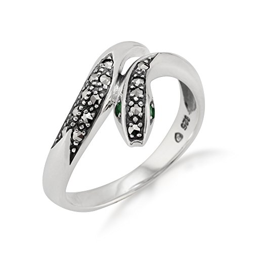 Gemondo Jugendstil Schlange Ring, Sterlingsilber 0,04 K Smaragd & Markasit Ring