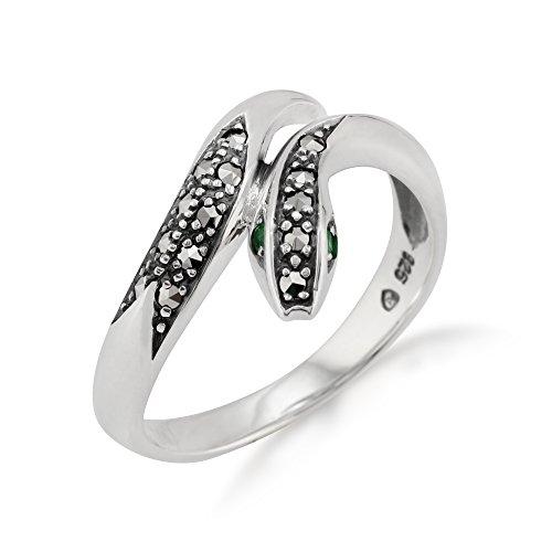 Gemondo Jugendstil Schlangenring, Sterlingsilber 0.04ct K Smaragd & Markasit Ring (59 (18.8))