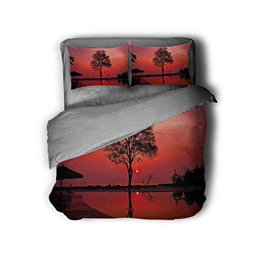 Luoiaax Twilight Sky with Tree 3-Pack (1 Duvet Cover and 2 Pillowcases) Polyester (Queen)