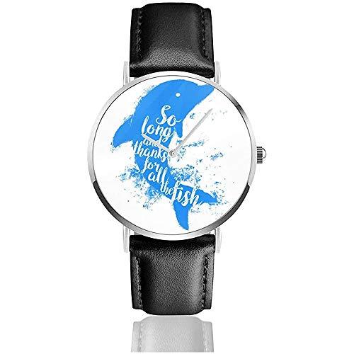 Unisex so Lange und Danke für All die Fish Hitchhikers Guide to The Galaxy Uhren Quarzlederuhr mit schwarzem Lederband