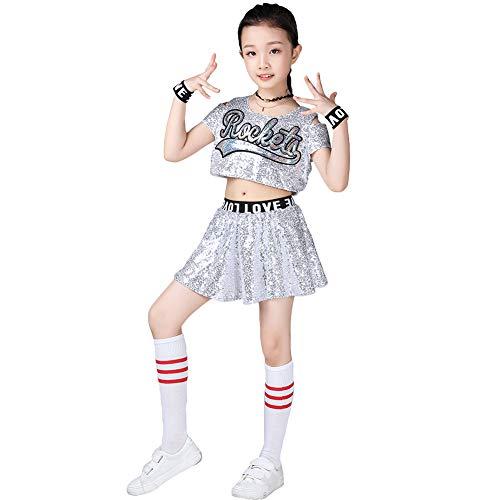 LOLANTA Kids Pailletten Hip Hop Dans Kostuum Meisjes Glittery Cheerleader Outfit, 6 Stuks Set