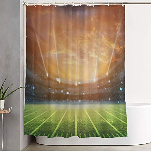 "Shower Curtain for Bathroom Green Activity Football Rendering Sports Fan Recreation Champion Field Arena Ball Best Bleachers Funny Shower Curtain Water Proof Bath Curtain with Hooks 60"" x 72"""
