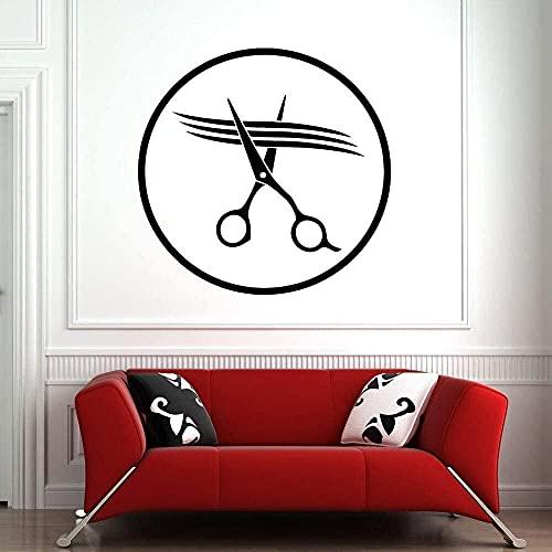 Etiqueta de la pared tijeras de peluquería decoración habitación arte pared calcomanía patrón simple peluquería belleza extraíble impermeable 86X86Cm