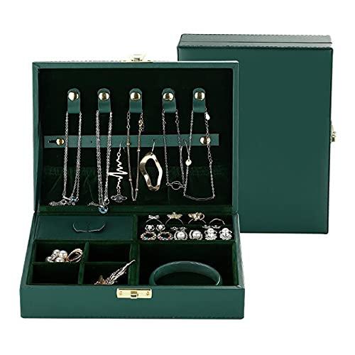 Kudiro Caja de almacenamiento de joyería Anillo Pulsera Pendiente Caja de Embalaje de joyería Anillo Collar Lock Reloj Caja de joyería (verde)