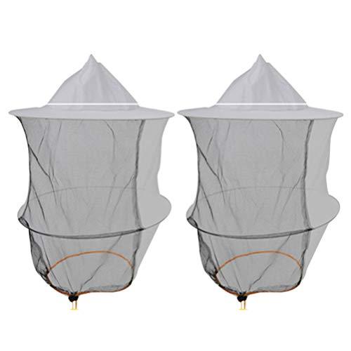 Hemoton 2 Stück Imkerhut Kopfnetz Hut Sonnenhut mit Mückennetz Männer Frauen Kopfbedeckung Nackenschutz Gesichtsschutz Anti Moskito Bienen Bienenzüchter