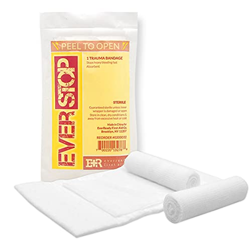 Ever Ready First Aid EverStop First Aid Blood Stopper Compress Multi-Purpose Wound and Trauma Dressing- 3 Pack