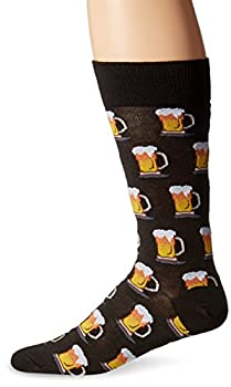 Hot Sox Men s Food and Booze Novelty Casual Crew Socks Beer  Black  Shoe Size  6-12