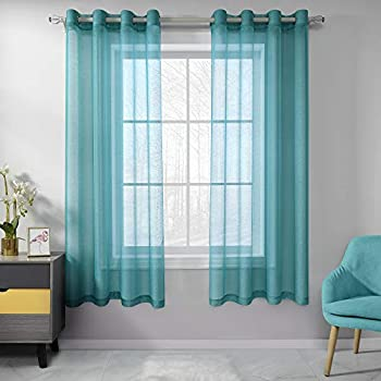 RAIN CITY Teal Sheer Curtains 45 Inch Length Set 2 Panels for Nursery Semi Voile Sheer Drapes Solid Luxury Grommet Teal Textured Sheer Curtains for Kitchen Cafe Small Windows 52 X 45 Inches Long