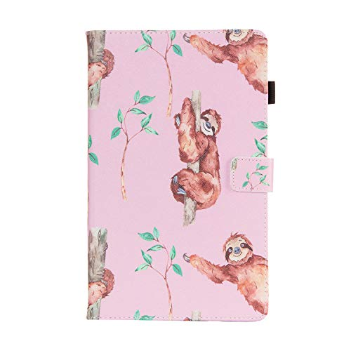 UGOcase Folio Case for Samsung Galaxy Tab A 10.1 2019, PU Leather Folding Stand Folio Cute Protective Cover Case for Samsung Galaxy Tab A 10.1 Inch Model SM-T510/SM-T515 2019 Release, Sloth