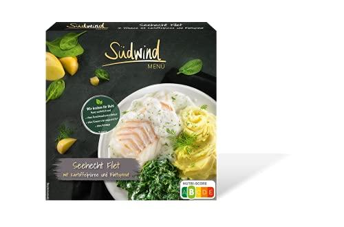 Seehecht Filet in Dillsauce mit Kartoffelpüree und Blattspinat – Fertiggerichte für die Mikrowelle / Wasserbad - Südwind Lebensmittel