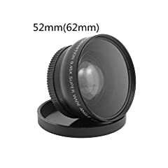 Wide angle lens provides a 170° panoramic view of the entire room Macro mode is done by unscrewing the front lens group and using only part of the marked macro with your existing lens. Please note: the size of your front lens filter must be 52mm The ...