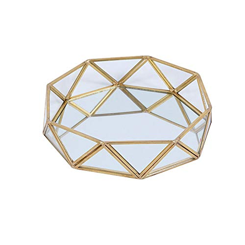 SLHEQING Spiegeltablett Kosmetikorganiser Gold Make-up Schmuck Organizer Tray, Parfüm Dekoration Tablett