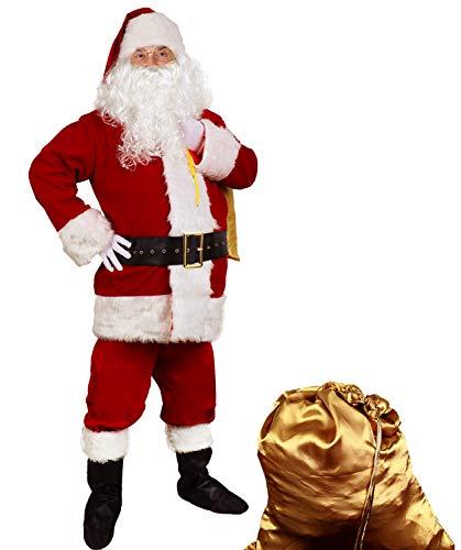 Men's Deluxe Santa Suit 10pc. Christmas Adult Santa Claus Costume 3X-Large Red