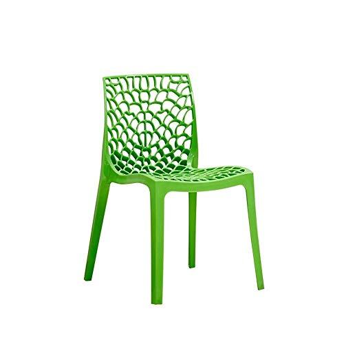 JISHIYU-Q Silla de Comedor Taburete Alto con Respaldo plástico Creativo del Bar Silla Moderna Minimalista Lazy Silla de la Manera (Verde)
