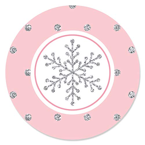 Big Dot of Happiness Pink Winter Wonderland - Holiday Snowflake Birthday Party or Baby Shower Circle Sticker Labels - 24 Count