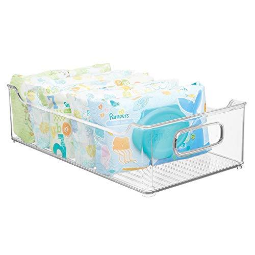 mDesign - Opbergbak - opbergbox/babykamer organizer - met handvatten/plastic - voor luiers, kleding, speelgoed en meer - handig voor slaapkamer, speelkamer en babykamer - doorzichtig