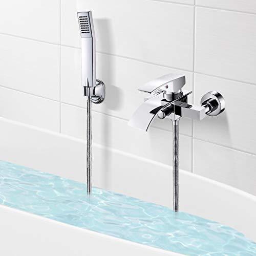 Ventry - Grifo monomando para bañera (latón H59, con alcachofa de mano, soporte para ducha de mano, manguera de ducha)