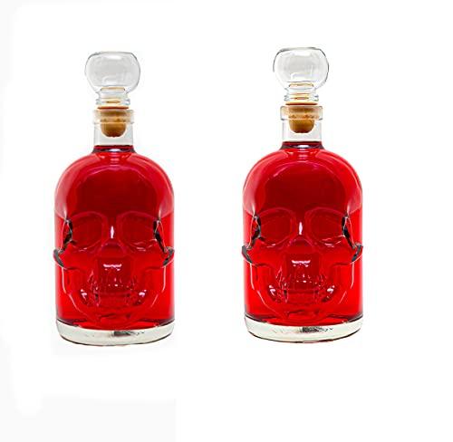 slkfactory - Botellas de Cristal vacías (2 Unidades, 500 ml, Fabricadas en Alemania, con cráneo Pirata, 0,5 L)