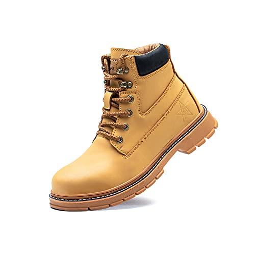 Safety Boots Work Mens Women Waterproof Shoes Leather Steel Toe Cap Trainers Ankle Lightweight Footwear S3 SRC Slip-on Black Brown 916Brownyellow47