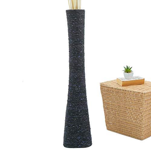 LEEWADEE Grande Vaso da Terra: stiloso Vaso da Pavimento, Elemento Fatto a Mano di bambù e Rafia, Alto Vaso per Rami Decorativi, 90 cm, Nero
