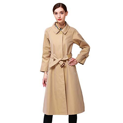 Biddtle Damen Trenchcoat Mantel Elegant Regenmantel Revers Einreihig Jacke Mit Taillengürtel Lange Ärmel Schulterklappen Mantel,L