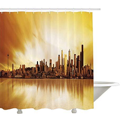 Yeuss appartement Decor Collection, Image panoramique de la ville de Seattle au coucher du soleil Business Corporate Cityscape Image, tissu de polyester de salle de bain Rideau de douche