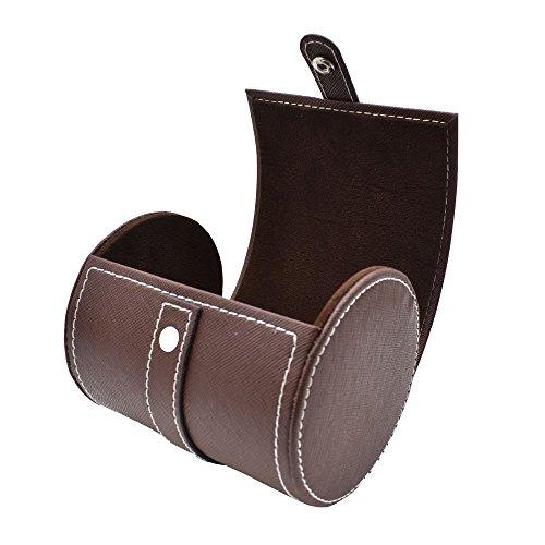 SANQIANWAN Fashionable Business PU Leder Krawatten Box 12 x 9 x 9 cm Zylinder-Form Krawattenhalter (Braun)