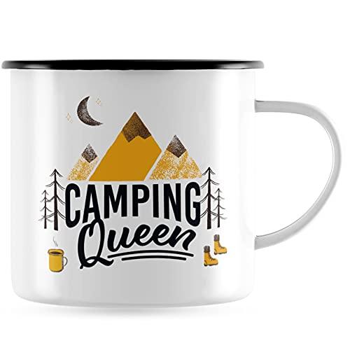 JUNIWORDS Emaille-Tasse, Camping Queen, Schwarzer Tassenrand