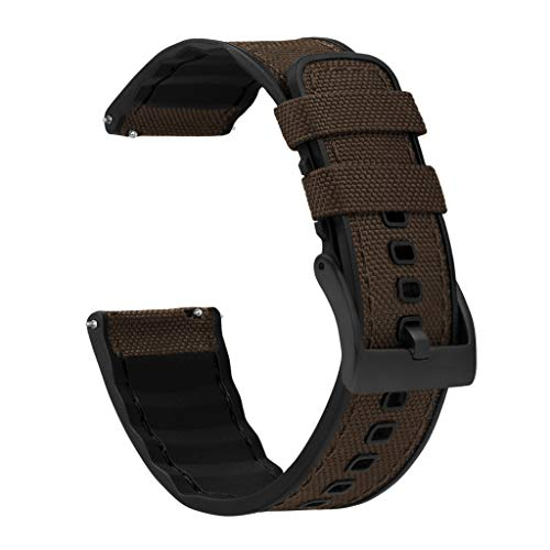 18mm Chocolate Brown - BARTON Cordura Fabric and Silicone Hybrid Watch Bands with Integrated quick release spring bars- Cordura Fabric and Silicone- Black PVD Hardware