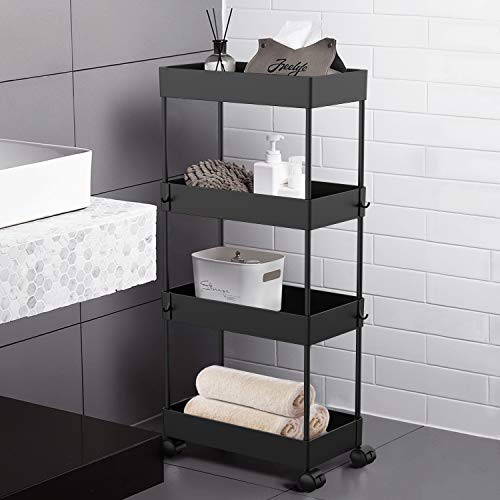AOJIA 4 Tier Slide Out Storage Cart Bathroom Storage Organizer Rolling Utility Cart Bathroom Storage Cart with Wheels Mobile Shelf Units for Bathroom Kitchen Bedroom Laundry