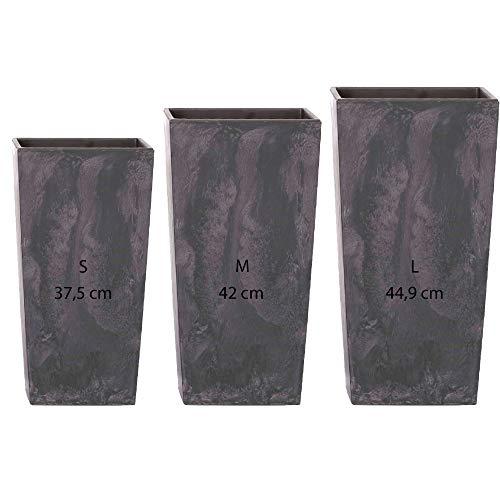 Wellhome Pack 3 macetas Altas Prosperplast (11,4/16,3/19 litros) Urbi Square Effect de plastico en Color Antracita con deposito, Pequeña