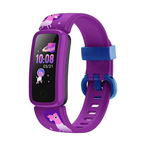 BIGGERFIVE Fitness Tracker Watch for Kids Girls Boys Teens, Activity Tracker, Pedometer, Heart Rate Sleep Monitor, Vibrating Alarm Clock, IP68 Waterproof Calorie Step Counter Watch - Pattern Purple