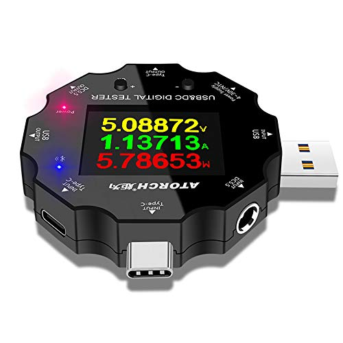 Ashey USB-Spannungsprüfer Multimeter, DC5.5 USB 3.0 Typ-C 18 in 1 USB-Tester DC Digital Voltmeter-Energien-Bank-Ladegerät Spannung Strom Amperemeter Detector QC / PD3.0 Meter