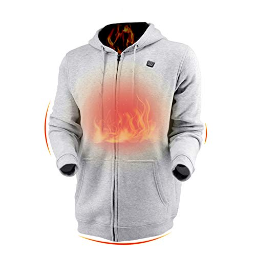 Dr.Qiiwi Men's & Women's Outdoor Heated Hoodie, Soft Lightweight Full-Zip Hooded Jacket for Cold Weather with Quick-Heating System
