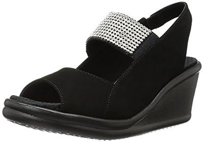 Skechers Cali Women's Rumblers Sparkle on Wedge Sandal,black,7 M US