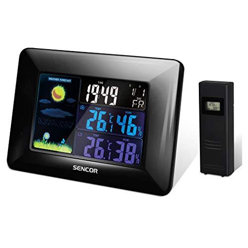 SENCOR, zwart SWS 4250 weerstation, symbolen voor weersvoorspelling, digitale tijd, datum en dag van de week, kleurenLCD-display