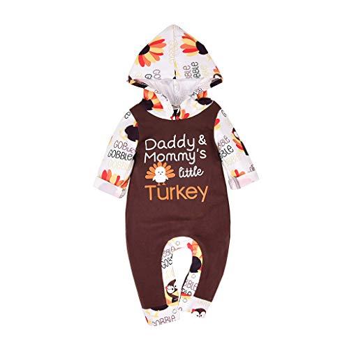 Baby Jungen Mädchen Hooded Strampler Thanksgiving Day Babybody Türkei Alphabet Cartoon Druck Bodysuit Hoodie Romper Jumpsuit, Brown, 3-6 Monate
