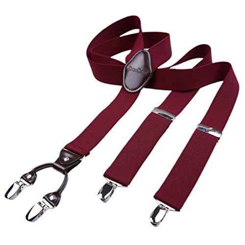 DonDon Bretelle uomo 3,5 di larghezza con 4 clip in pelle marrone a forma di Y elastiche e regolabili rosso scure