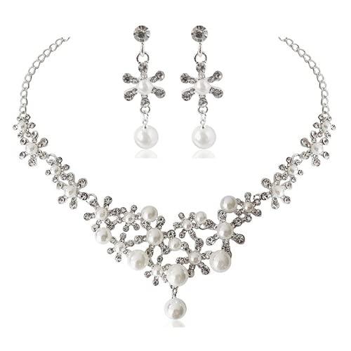 XIGAWAY Cristal nupcial floral onda lágrima collar pendientes joyería conjuntos para las mujeres