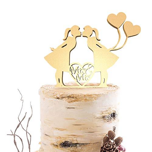 lesbische bruiloft taart topper dezelfde seks, gepersonaliseerd mrs mrs mrs taart topper, rustieke lesbische silhouette taart topper Wood-black