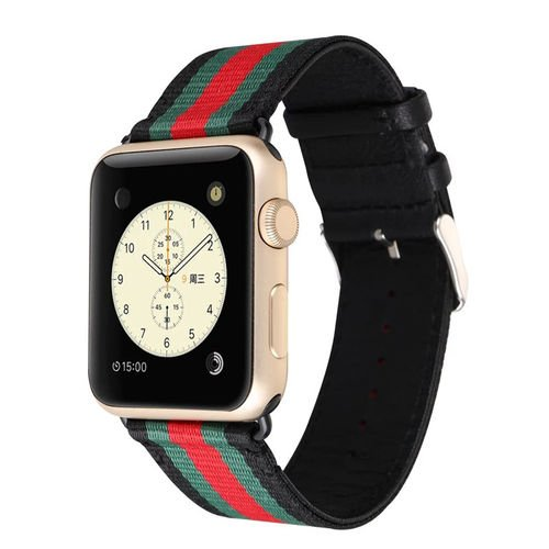 MORTREE Nylon and Leather Band for Apple Watch Series 3 Series 4 Bands,Woven Nylon Replacement Band with Top Layer Genuine Leather Wrist Band for Iwatch Series 4/3/2/1(Green and Red in Black 42mm)