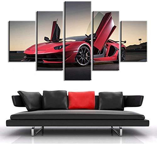HD-Poster Muur Kunst 5 Stuks Supercar Canvas Schilderijen Lamborghini Aventador Sport Car Afdrukken Stickers Muurschildering Huiskamer Huisdecoratie,40×60×2+40×80x2+40×100×1