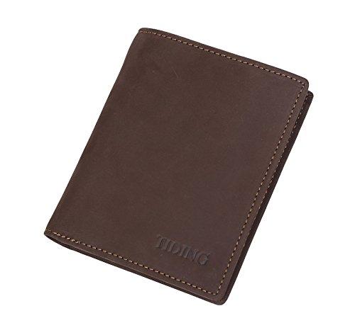 TIDING Uomo Annata vera pelle Cavallo Pazzo Organizzatore tasca verticale Carta di credito Titolare Bifold fatto a mano Fessura portafoglio Marrone